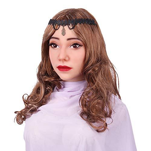 Realistisch Weiblich Gesicht Handgemacht Silikon Kopf Maske Zum Crossdresser Transvestit, Cosplay Halloween Kostüme Parodie Geschenk, Als Frau Verkleidet