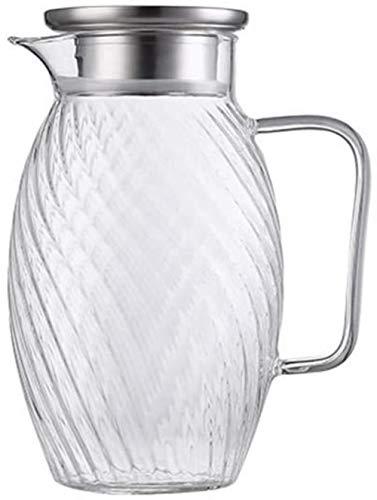 Tetera Tetera de 1,5 l / Litro Agua tapa la jarra de vidrio de la jarra de acero inoxidable jarra con fruta Insertar pueden lavar en lavavajillas Jarra de vidrio de gran capacidad de la botella de agu