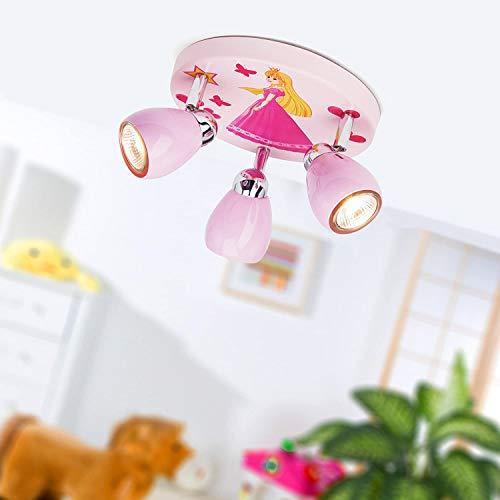 Princesa luz de techo con 3 puntos, Ø 31 cm, incl. Halógena GU10 50W 3x, de metal, de color rosa