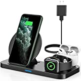 Latest 2020 Wireless Charger, Powlaken 3 in 1 Qi-Certified Wireless Charging Station for AirPods Pro Apple Watch Series 5/4/3/2/1,Fast Wireless Charging Stand for iPhone 11 Pro/11 Pro Max/XS Max/XR/X