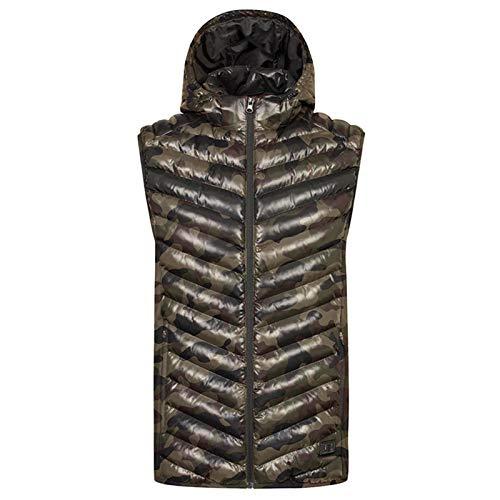 Beheizte Weste mit Kapuze abnehmbar für Männer, warme 5V-Sicherheitsspannung waschbarer Regen und schneefester Jacke, Camouflage-S