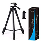 Regetek 54 Inch Lightweight Phone Tripod Aluminum Camera Tripod Video Tripod Stand Holder Mount for Canon Nikon Mirrorless/Gopro/DSLR Camera Ring Light Cell Phone Smartphone + Bag+ Phone Mount