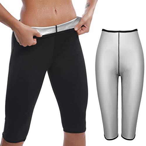 KUMADAI Pantalones Deportivos de Mujer, Pantalones de Sauna Adelgazantes Leggins Anticeluliticos Cintura Alta para Adelgazar Capris Leggings Body Shaper,Negro,Large