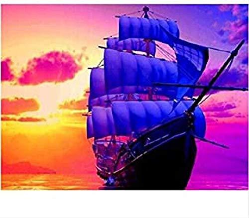 WOMGD® Landschap Legpuzzel 1000 stukjes, Boot zeilen in de zonsondergang Houten puzzels, Educatief spel Stress Reliever Moeilijke uitdaging Speelgoed voor kinderen