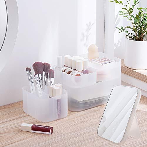 Poeland Desk Storage Organizer with Vanity Mirror Stackable Makeup Organizer Box