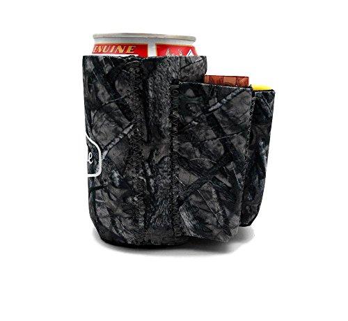 Bier kann chuggie mit zwei Taschen–Zigarette und Feuerzeug, Handy, Schlüssel, 3mm Neopren, camouflage, 4 Pack
