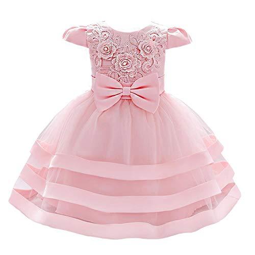 Lito Angels Neonate Abiti Matrimonio Flower Girl Dress Floreale Ricamato 6-12 Mesi Rosa 424