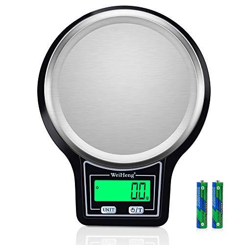 Diyife Báscula Digital de Cocina, 5kg/ 0.1g Báscula Electrónica de Cocción de Alimentos con Pantalla LCD Báscula de Pesaje de Plataforma de Acero Inoxidable Báscula para Hornear y Cocinar