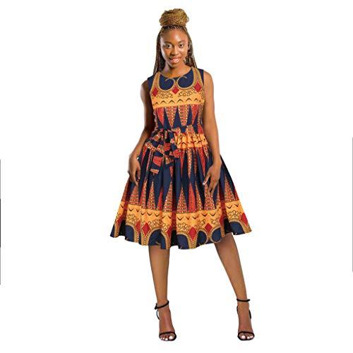 EUCoo Dashiki sexy floral africano impreso largo maxi vestidos bohemios vintage swing vestido con cinturón