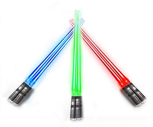 Chop Sabers Chopsticks LightSaber Light Up (3 pares, vermelho, azul, verde)