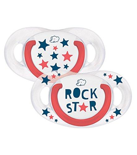 bébé confort Rebel Rules Rock Star Set de 2 Sucettes Natural Physio en Silicone 6/18 Mois