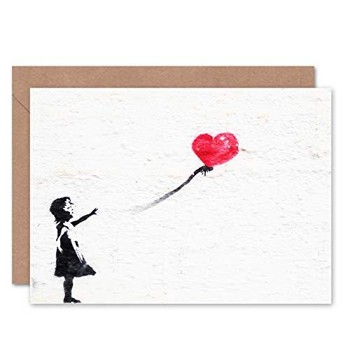 FINE ART PRINTS Banksy Balloon Girl Graffiti Greeting Card with Envelope Inside Premium Quality Ballon Mädchen