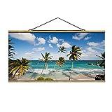 Bilderwelten Imagen de Tela - Beach of Barbados, 50cm x 100cm, Roble