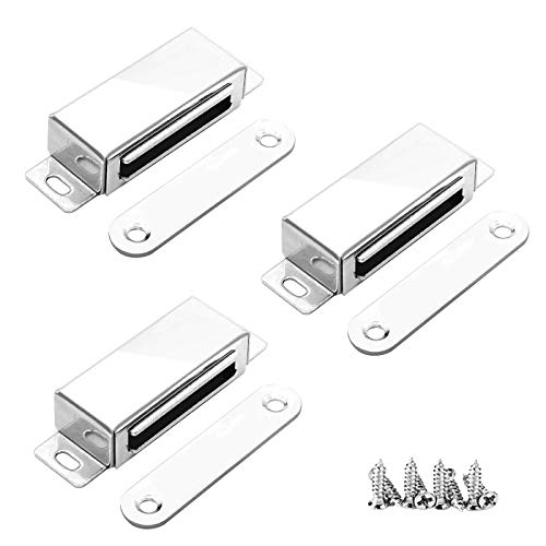3 Pack Magnetic Catches, 20 kg Onehous Door Magnetic Catch Magnetic Lock, 304 Stainless Steel Magnetic Door Closer Door Lock for Cabinet Magnets for Home Furniture, Wardrobe, Kitchen