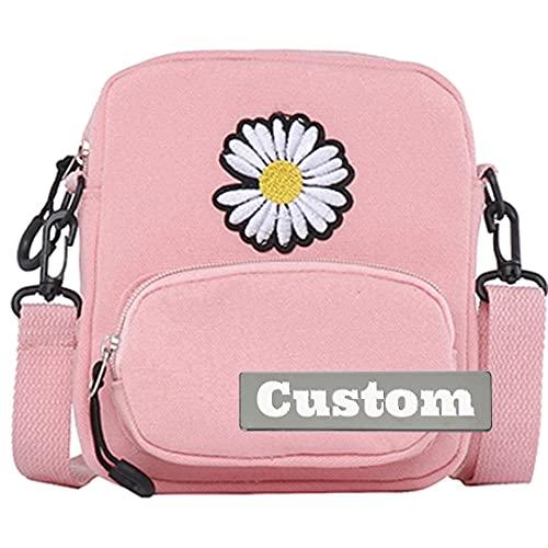 Nome personalizzato Messenger lavoro borsa a tracolla per uomini borse da viaggio per uomo tela, rosa, Taglia unica,