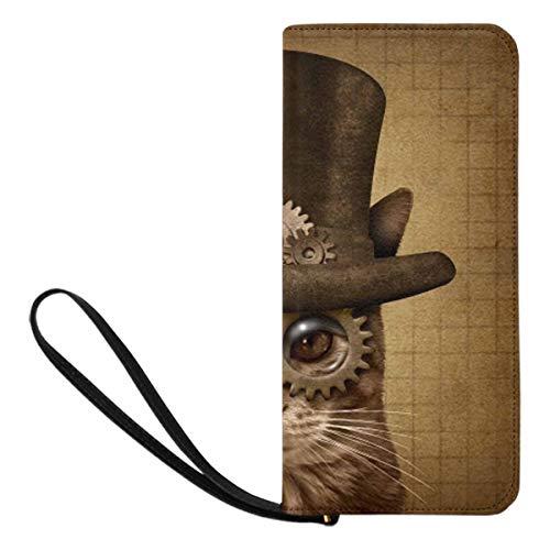 InterestPrint Funny Fantasy Steampunk and Steam Punk Grunge Cat Women Wallet Ladies Wristlet Wrist Strap Long Clutch Purse