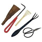 Nrpfell Bonsai Tool Kit 5Pc Basic Care Set Root Rake, Shear, Root Pick, Moss Brush, Cepillo de Bambú Rígido con Bolsa