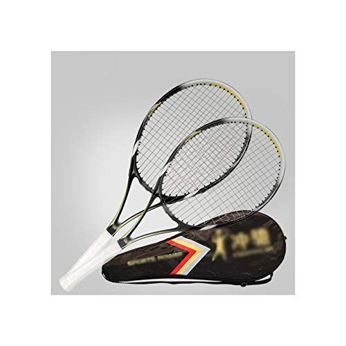 HLONGG Raqueta De Tenis Profesional, Principiante, Unisex, Estudiante, Tenis De Adultos Raqueta De Tenis Doble Práctica (Dos Paquetes),Negro