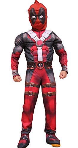 3D Gedruckte Deadpool Cosplay Halloween Kostüm Kinder Rot Rollenspiel Outfits mit Muskelarmen und Brust Gefüllt mit Schaum 2 Stück Maske + Kostüm