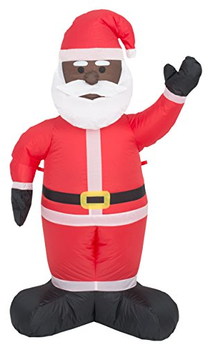 Costume Agent Inflatable Airblown Indoor and Outdoor Christmas Decoration (8 feet, Black Santa)
