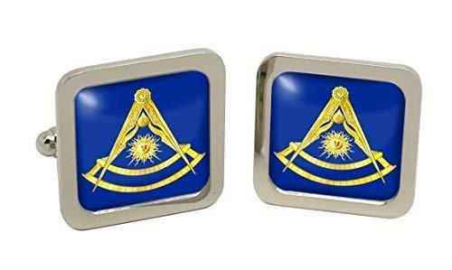 Passé Master boutons de manchette pour homme avec symbole maçonnique Chromé-Coffret cadeau