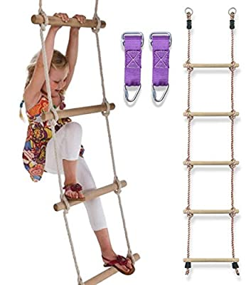 Trailblaze Premium Climbing Rope Ladder for Kids 6ft - Buckle Straps Connect Ladder to Ninja Warrior Obstacle Course for Kids | Playground Swingset Accessories Outdoor Play Equipment for Kids
