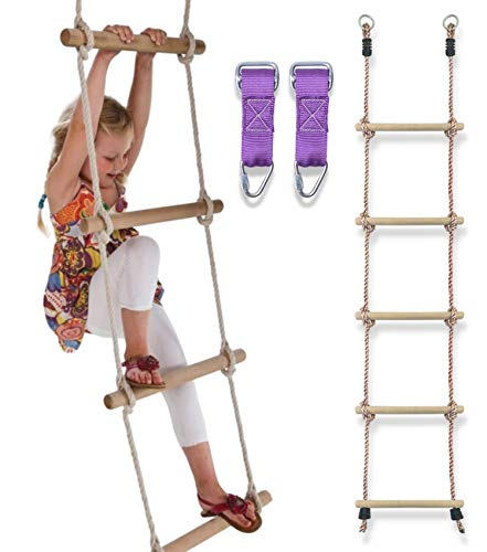 Trailblaze Premium Climbing Rope Ladder for Kids 6ft - Buckle Straps Connect Ladder to Ninja Warrior...