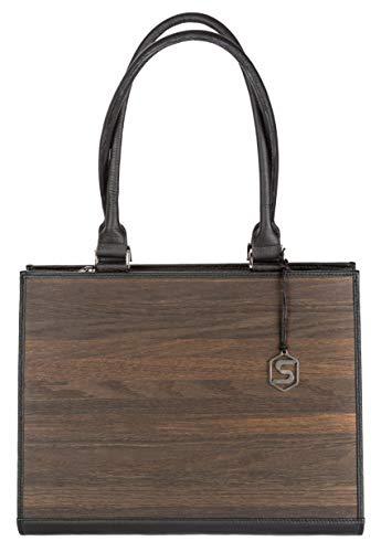 SEBASTIAN STURM Handtasche RUBY | Gefertigt aus Echtholz Typ Räuchereiche und Rindleder | Henkeltasche Schwarz | By