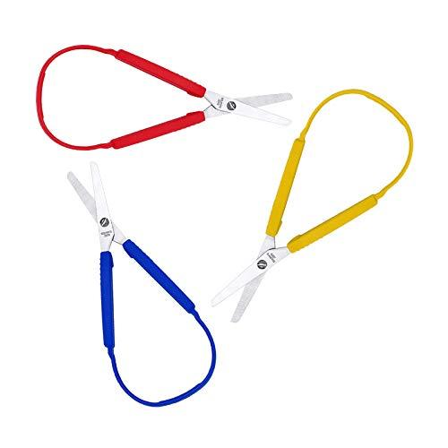 LAMXIN Tijeras de bucle para adolescentes, también se pueden utilizar como tijeras zurdas, fácil agarre, hoja de seguridad, punta redonda, soporta necesidades especiales y ancianos.
