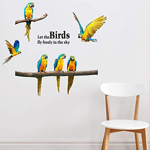 Muursticker - Decor Verwijderbare Vliegende Papegaai Ara Vogels Animal Decal Art Room Decoratiestickers 45x60cm