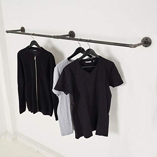 Various Kleiderstange Industrie-Design - div. Größen, z.B. 150 x 28 cm - Wand-Garderobe für Jacken in U-Form - schwarz, Metall