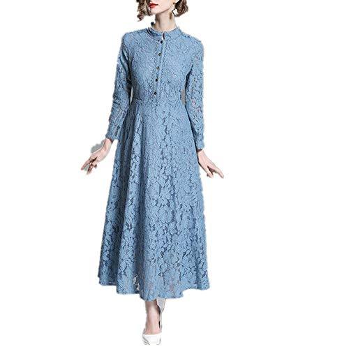 T-ara Estilo de Moda Vestido de Encaje Cuello Vertical de Manga Larga Una Falda Colgante de Falda Pendiente recolectiva Estilo de Moda (Color : Blue, Size : XL)