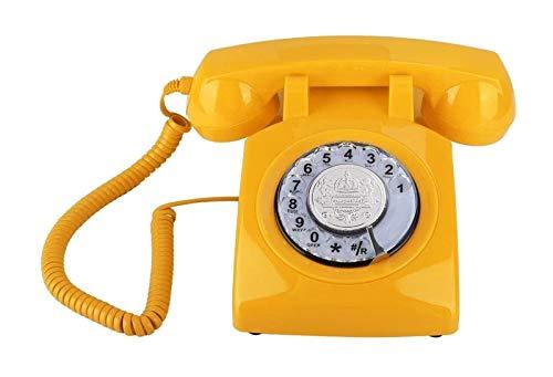 gujiu Teléfonos Princesa, Teléfono Dektop, Dial Rotary de Moda Antiguo, Diseño Retro Vintage Teléfono Fijo Vintage  para Decoración del Hogar de Las Niñas (Amarillo) (Color : Yellow)