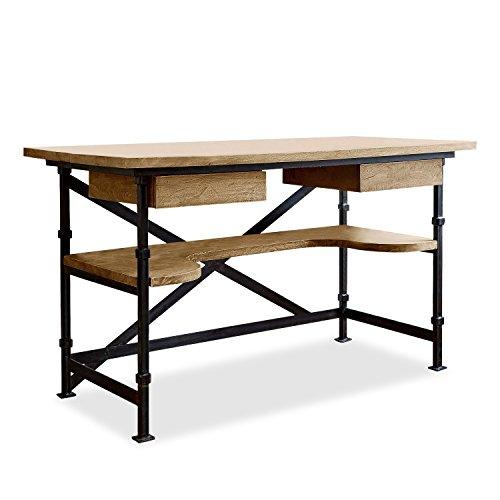 Loberon Schreibtisch Glenwood, Eisen/Mangoholz, H/B/T ca. 78/130 / 70 cm, antikbraun/schwarz