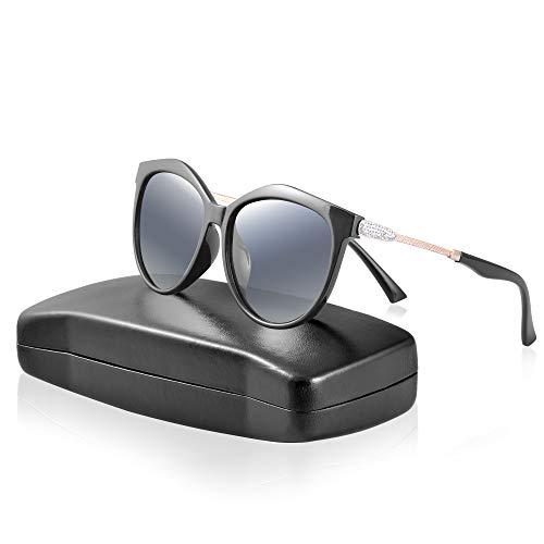 IPOW Occhiali da Sole Occhiali da Sole polarizzati Sunglasses Decorato con Cristallo Protezione in UV400 Visione HD Peso Leggero con Scatola Grande e Scheda Test polarizzata, Nero/Grigio