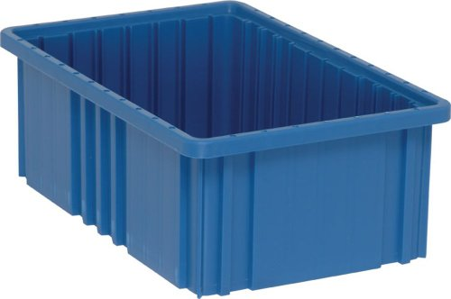 Quantum Storage DG92060BL Dividable Grid Storage Container, 16-1/2' L x 10-7/8' W x 6' H, Blue (Pack of 8)
