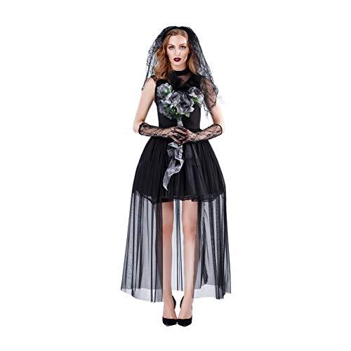 ZAOWEN Halloween Kostüm Halloween Schwarzer Spitze Erwachsene Weibliche Karneval Make-Up Weibliche Kostüm Ghost Bride Cosplay Kleid