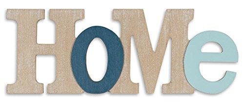Decoración levandeo, diseño 3D, con la palabra Home, 35 x 13 cm, letras de madera natural, color azul