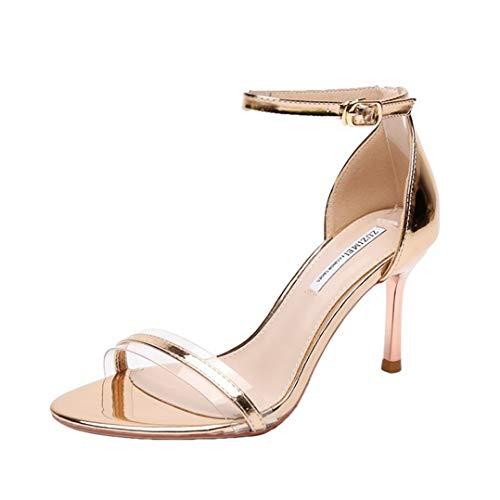 Damen Sandalen mit Knöchelriemen Summer Thin Heel Pumps Peep-Toe-Schnalle Fashion Party High Heels