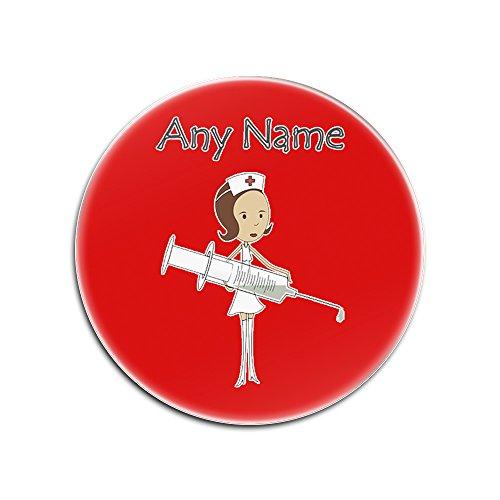 UNIGIFT Posavasos Personalizable con diseño de Enfermera Morena y jeringa Grande (Color del Servicio de Salud), con Texto en inglés, Rojo, Redondo