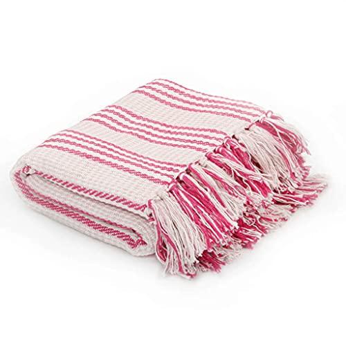SHUJUNKAIN Manta a Rayas 160x210 cm algodón Rosa y Blanco Casa y jardín Ropa de casa Ropa de Cama Mantas Rosa y Blanco