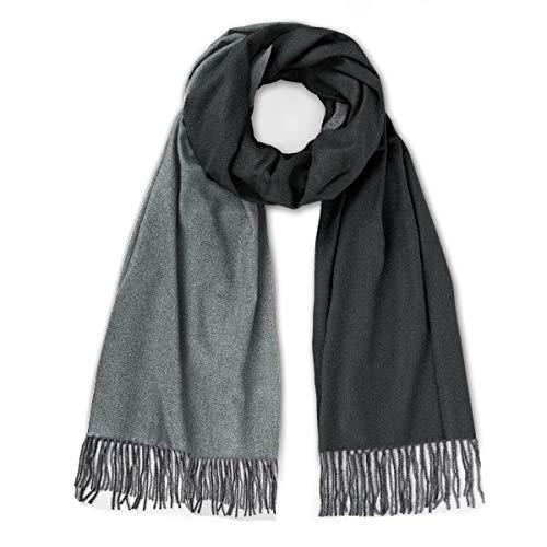 Kaschmir schal für Damen - Zweifarbig Schal Winter Cashmere Wolle Schal Stola Tuch Pashmina Winterschal Dicke Schals mit quasten für Frauen
