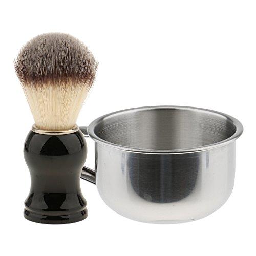 Sharplace Vintage Blaireau de Rasage en Vrais Poils de Sanglier + Bol/Tasse de Savon à Barbe en Acier Inox - Kit de Rasage pour Hommes Barbiers Coiffeurs - A