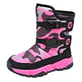 Teens Child Kids Boys Girls Winter Warm Snow Boots Waterproof Non-Slip Comouflage Mid-Tube Cotton Boots (Hot Pink, Age:13.5-14Years)