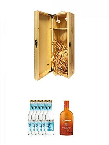 1a Whisky Holzbox für 1 Flasche mit Hakenverschluss + Fever Tree Mediterranean Tonic Water 6 x 0,2 Liter + Kinross Gin Tropical und Exotic Fruits 0,7 Liter