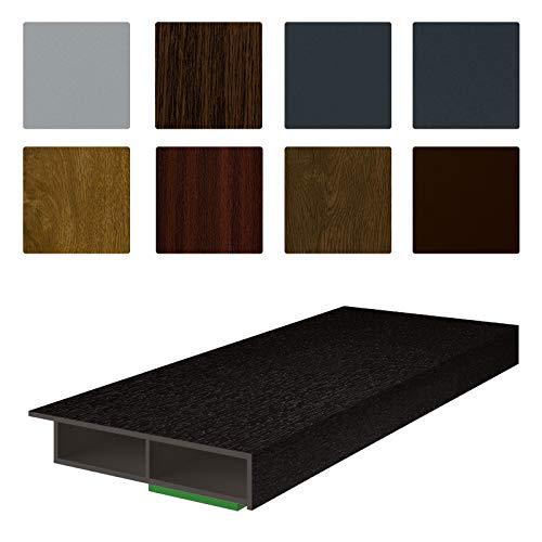 NOBILY *** Fenster/PVC Deckleiste Flachleiste Fensterleiste 30mm Breite x 7mm Höhe mit Überstand für Wandabschluss inkl. Schaumklebeband farbig - Länge 1950mm (4,05€ /m) - Farbe Schwarzbraun