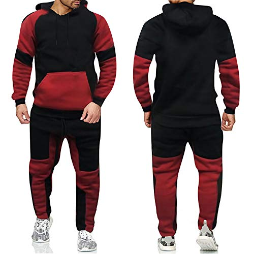 HOUXIAONI Traje de chándal para Hombre Juego de Traje Informal, Sudadera con Capucha y Pantalones Deportivos 2 PCS Outfit, Correr Jogging Athletic Sportswear, Rojo Red-XXL