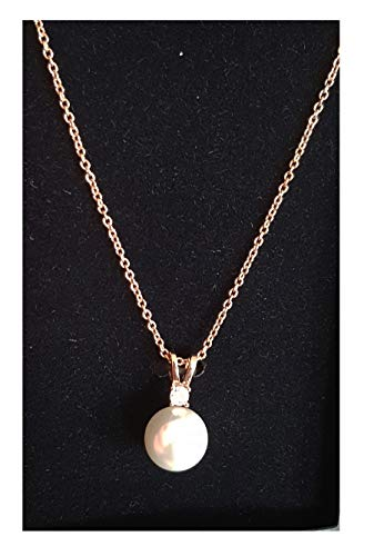 TCM Tchibo Silberkette mit Zirkonia und Muschelkernperle rosévergoldet Halskette