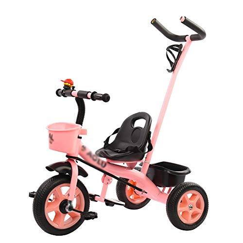 TQJ Cochecito de Bebe Ligero Niños Trike Triciclo con Desmontable manija de Empuje de 3 Ruedas for el bebé y niños pequeños, niños Paseo en Bicicleta (Color : Red)