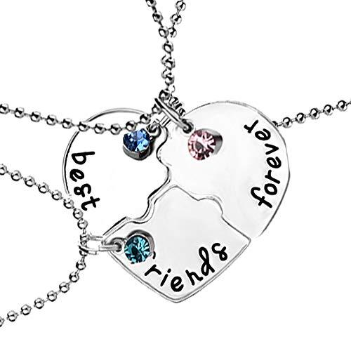 Yosemite 3Pcs / Set Strass Herz Passend Anhänger Halskette Freundschaft Halskette Frauen Beste Freunde Charme Schmuck Geschenk Silber